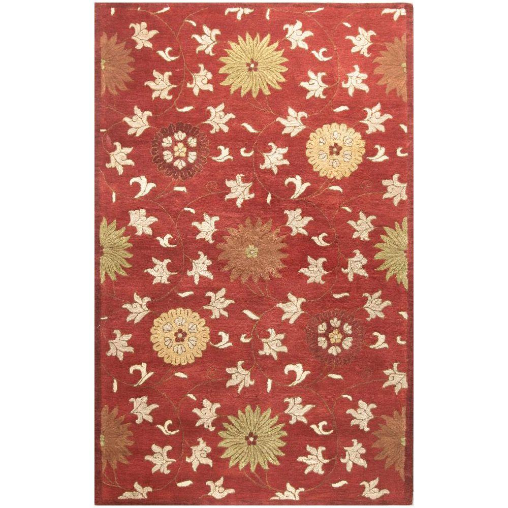 BASHIAN Wilshire Collection Transitions Red 2 ft. 6 in. x 8 ft. Area Rug