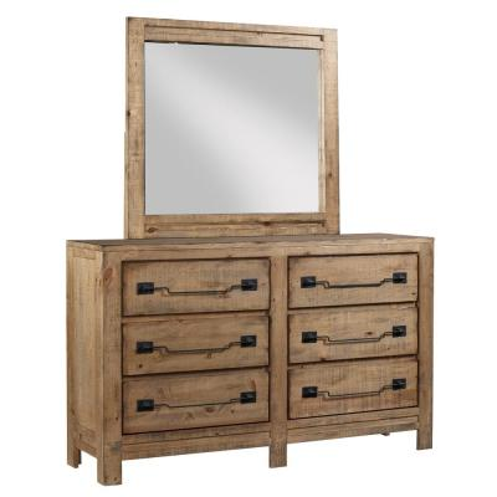 Windsor 6-Drawer Caramel Dresser with Mirror