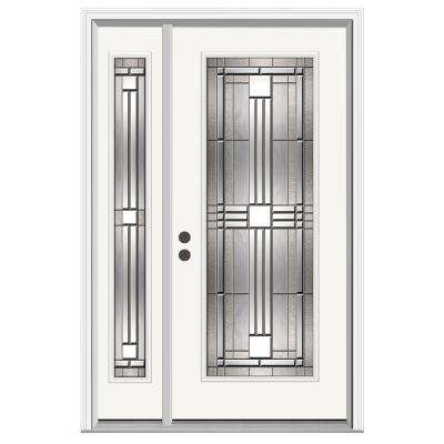 52 in. x 80 in. Full Lite Cordova Primed Steel Prehung Right-Hand Inswing Front Door with Left-Hand Sidelite