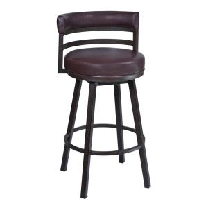 Armen Living Titana 30 in. Bar Stool in Auburn Bay finish with Brown Pu upholstery