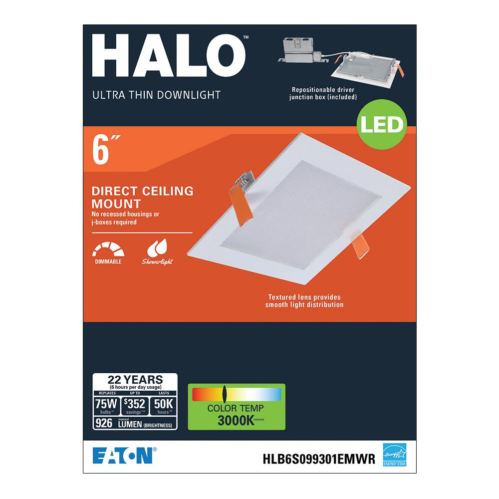 timeless design 751c2 69dc2 Halo HLB 6 in. Square 3000K Color Temperature New Construction and Remodel  Canless Recessed Integrated LED Direct Mount Kit
