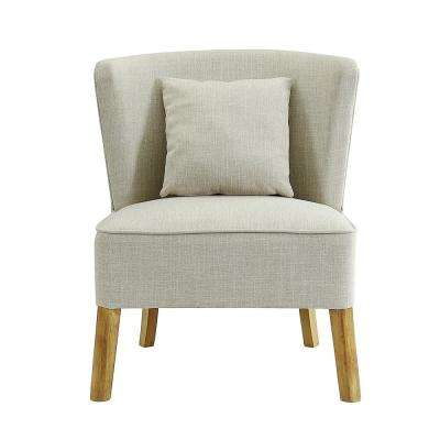 Ivory Accent Chair with Curved Back