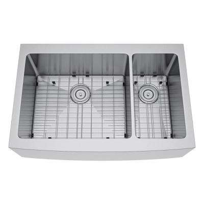 All-in-One Farmhouse Stainless Steel 36 in. 70/30 Double Bowl Kitchen Sink