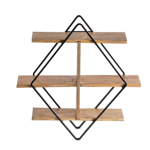 Tignes (5.75 in x 24 in x 24 in) - Black & Natural - Iron & Wood - Floating Decorative Wall Shelf