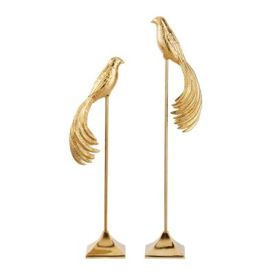 LITTON LANE 32 in. and 27 in. Tall Gold Metal Bird Sculptures On Rectangular Stand (Set of 2)