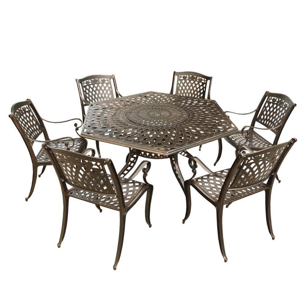 Rose Modern 7-Piece Bronze Aluminum Hexagon Outdoor Dining Set with Lazy Susan