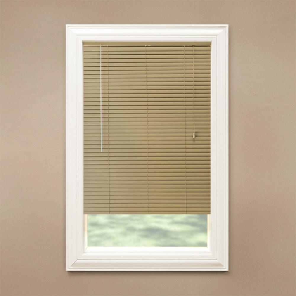 Hampton bay khaki 1 3 8 in room darkening vinyl mini for 18 x 48 window