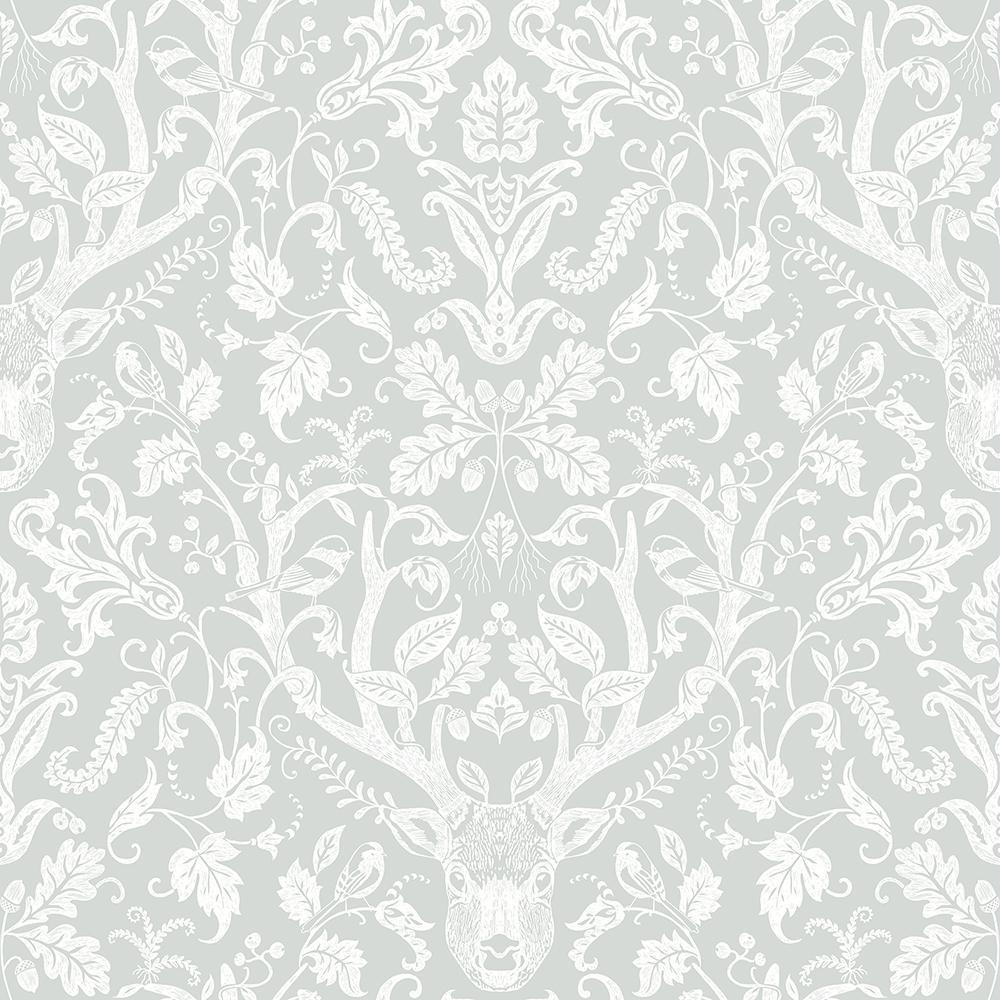 56.4 sq. ft. Kiwassa Grey Antler Damask Wallpaper