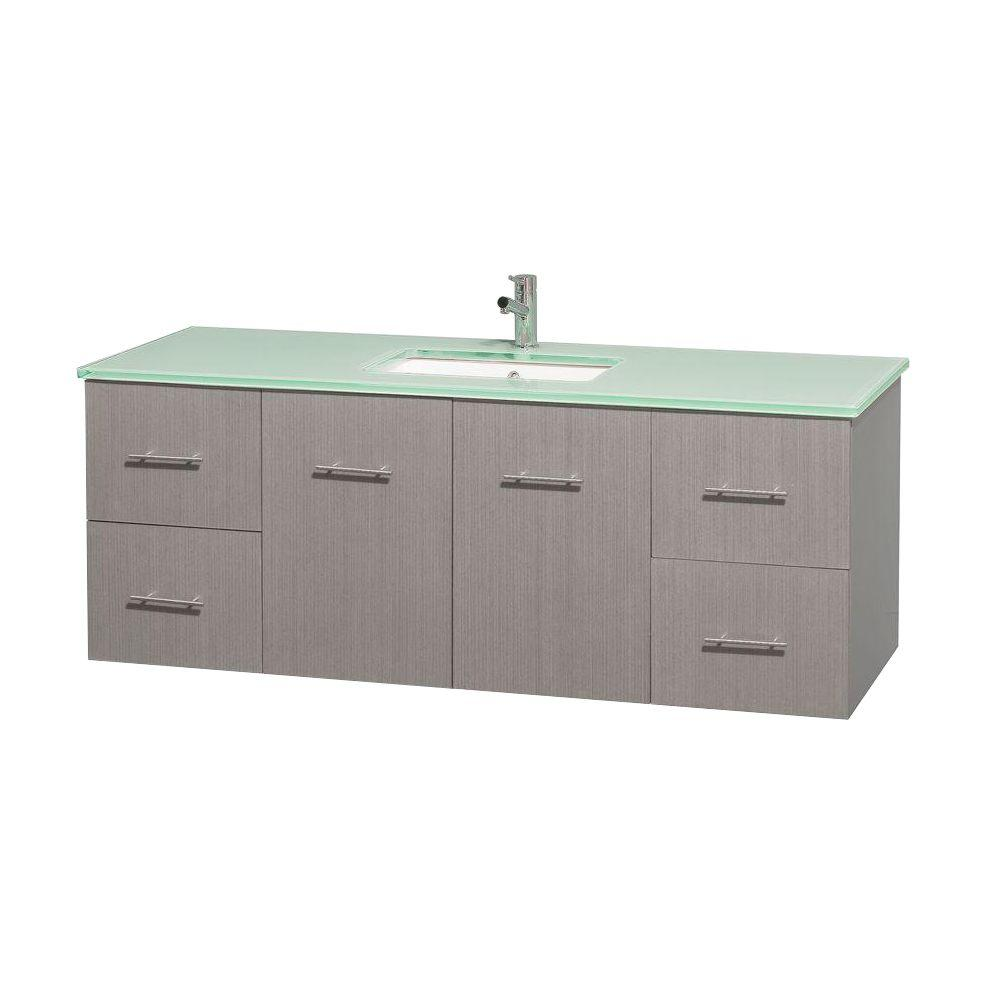 Wyndham Collection Centra 60 in. Vanity in Gray Oak with Glass Vanity Top in Green and Undermount Sink