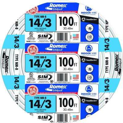 100 ft. 14/3 Solid Romex SIMpull CU NM-B W/G Wire
