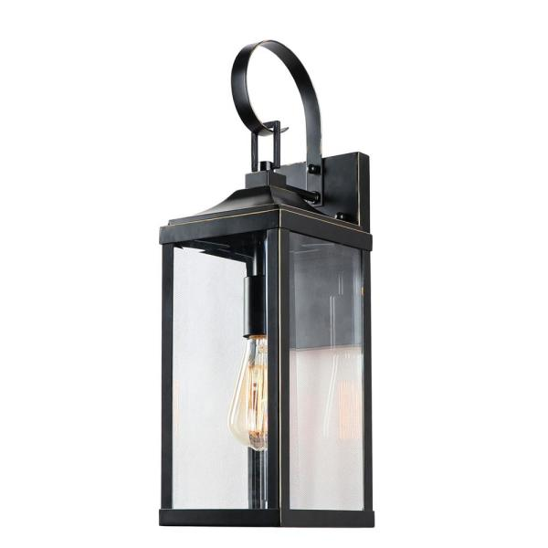 1 Light 19.4 in. Outdoor Imperial Black Wall Lantern Sconce