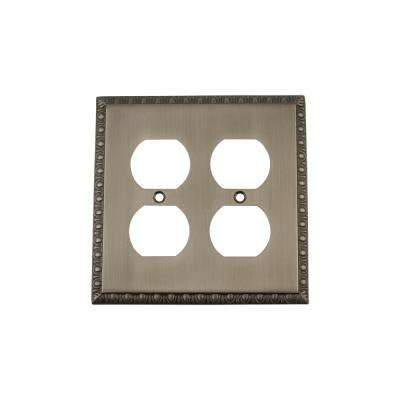Egg and Dart Switch Plate with Double Outlet in Antique Pewter