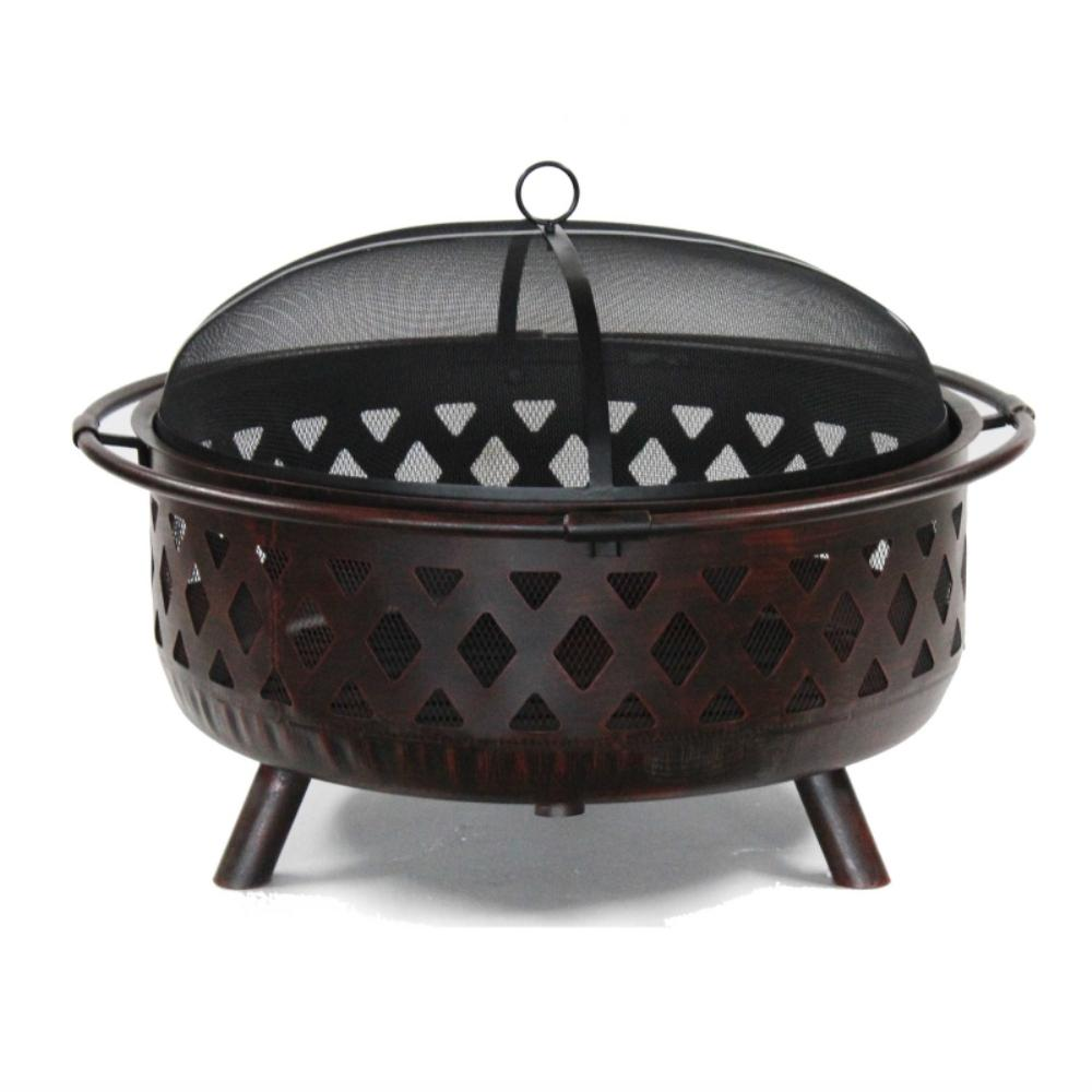 36 In X 28 Round Wood And Coal Steel Fire Pit With Flame Ant Lid
