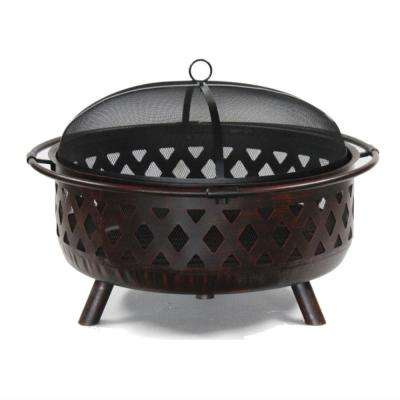 36 in. x 28 in. Round Wood and Coal Steel Fire Pit with Flame Retardant Lid