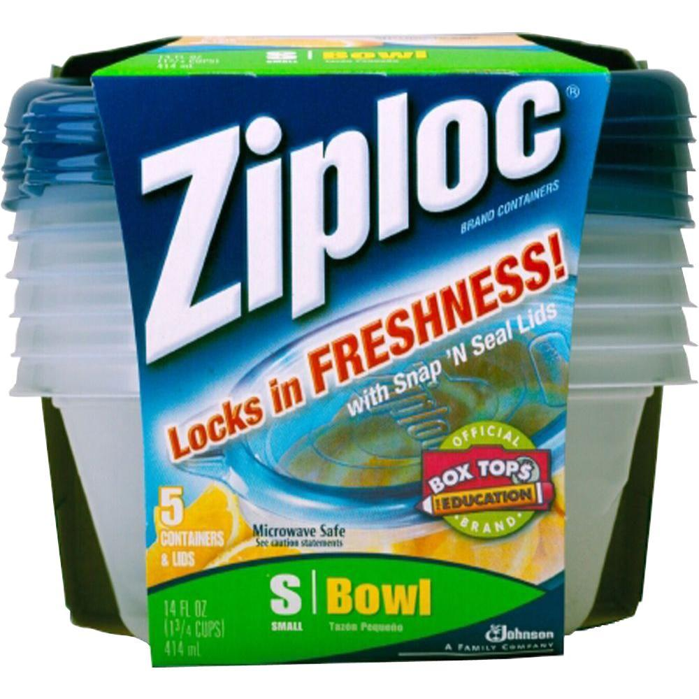 Ziploc 14 oz. Small Plastic Storage Bowl with Snap n Seal Lid (5 per Pack) (6 per Carton)