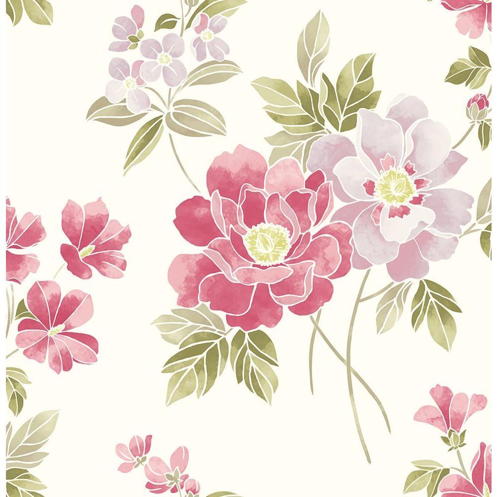 A street claressa pink floral wallpaper sample 2656 - Floral wallpaper home depot ...