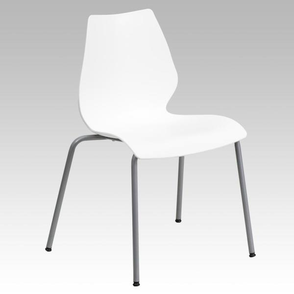 Incroyable Flash Furniture Hercules Series 770 Lb. Capacity White Stack Chair With  Lumbar Support And Silver