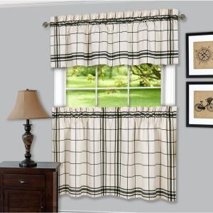 Achim Bainbridge Black Polyester Tier and Valance Curtain Set - 58 inch W x 36 inch L by Achim