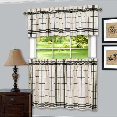 Bainbridge Black Polyester Tier and Valance Curtain Set - 58 in. W x 36 in. L