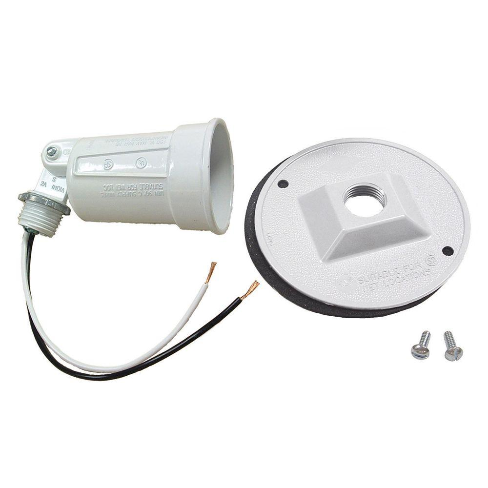 "BELL 75-150W PAR38 White Lampholder and 4"" Round Cover Combination"
