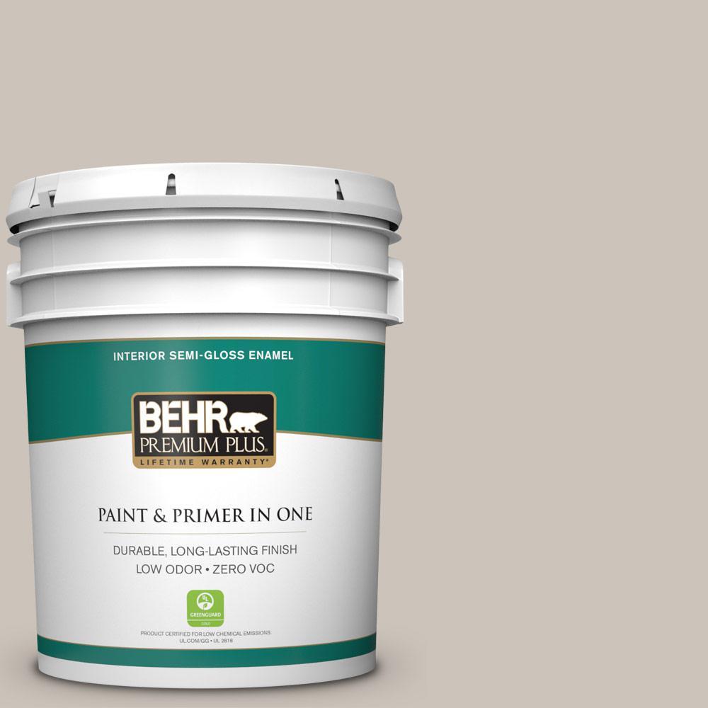 BEHR Premium Plus 5-gal. #N200-2 Doeskin Gray Semi-Gloss Enamel Interior Paint