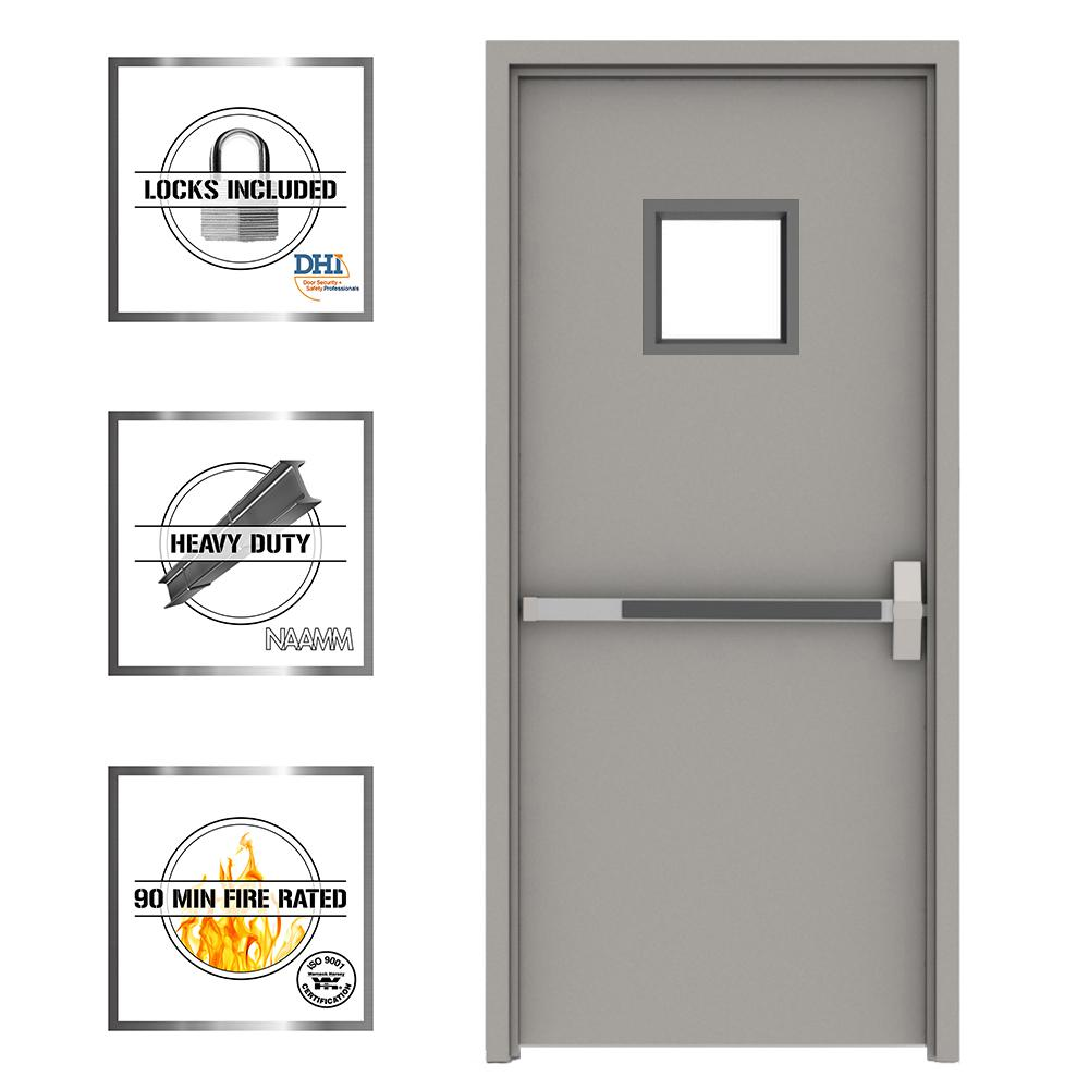 36 In X 84 In Gray Flush Exit With 10x10 Vl Left Hand Fireproof Steel Prehung Commercial Door With Welded Frame Uwxv3684l The Home Depot