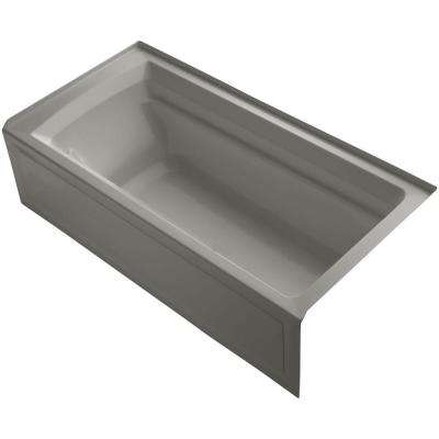 Archer VibrAcoustic 6 ft. Right Drain Soaking Tub in Cashmere with Bask Heated Surface