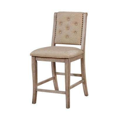 Reina Rustic Natural Tone Fabric Tufted Counter Height Chair (Set of 2)