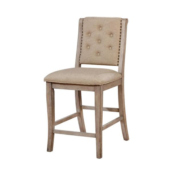 Furniture of America Reina Rustic Natural Tone Fabric Tufted Counter Height Chair (Set of 2)