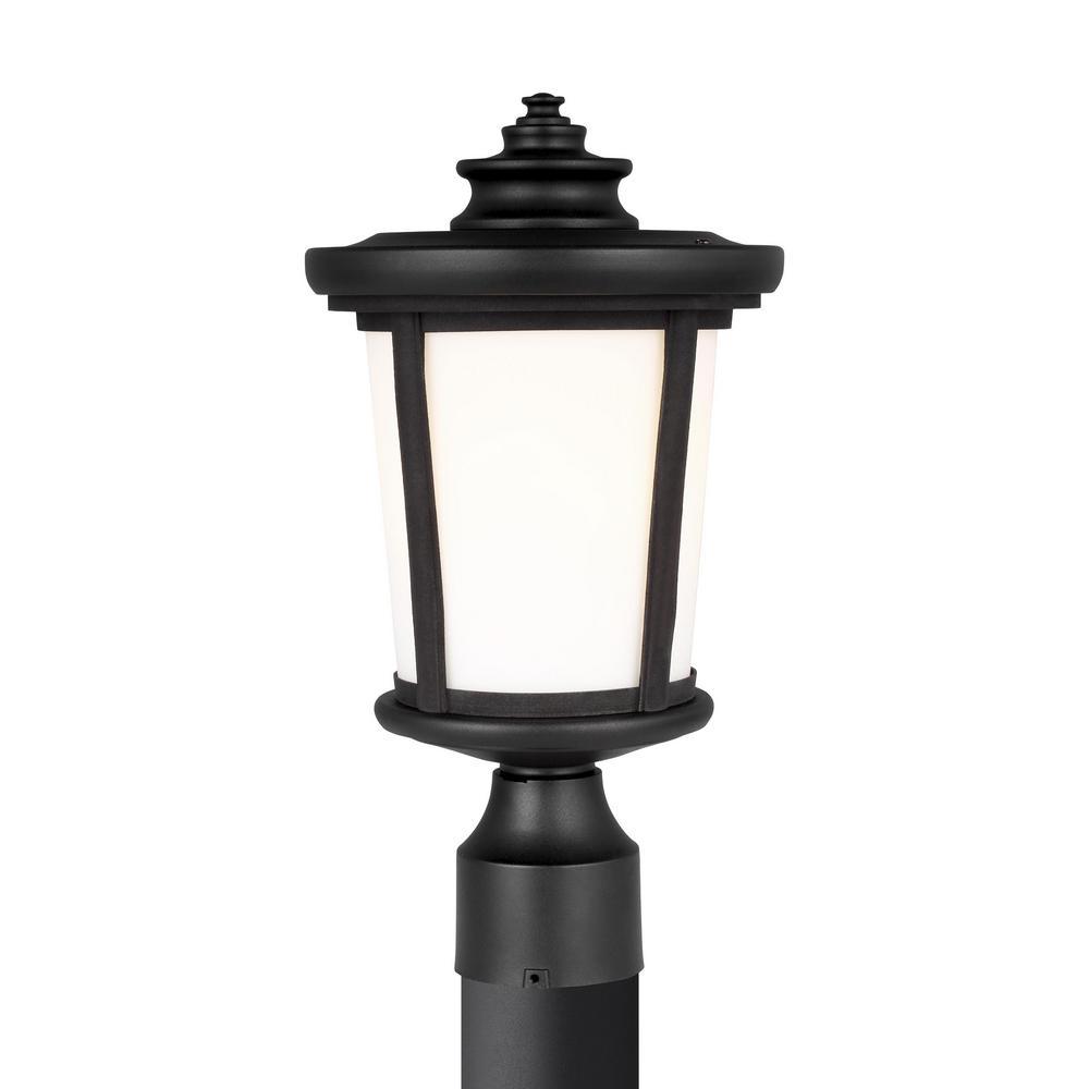 Sea Gull Lighting Eddington 1 Light Black Outdoor Post Lantern 8219301 12 The Home Depot