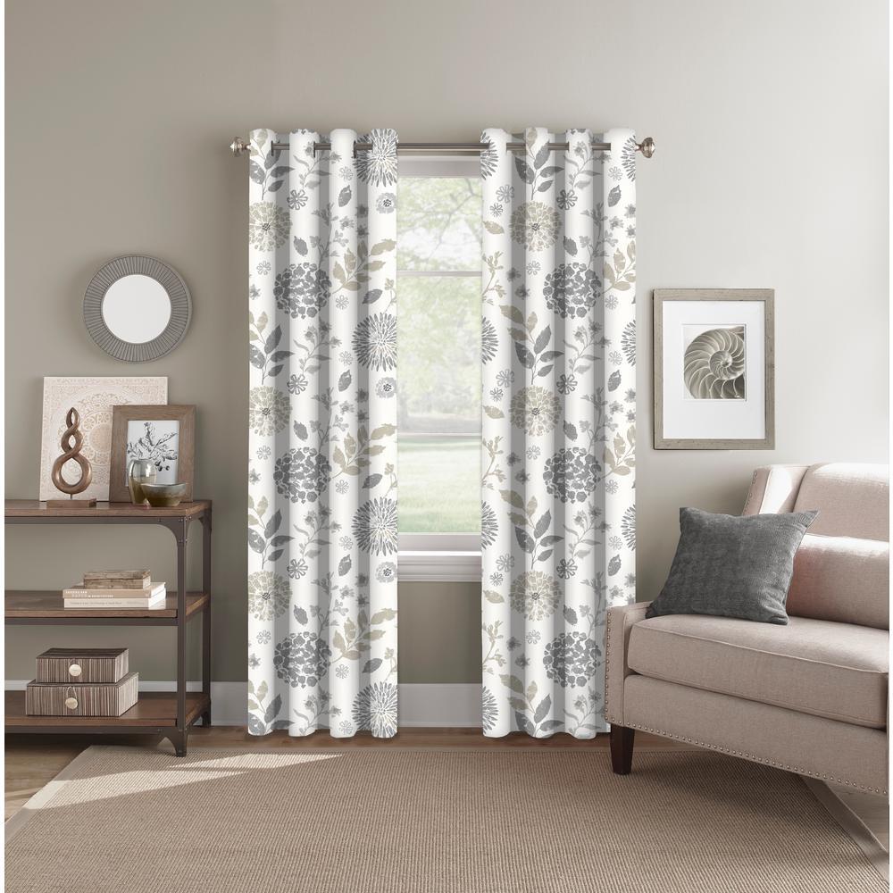 """Light Filtering Summit Botanical Neutral Rod Pocket'Back Tab Curtain Panel 52"""" W x 84"""" L"""
