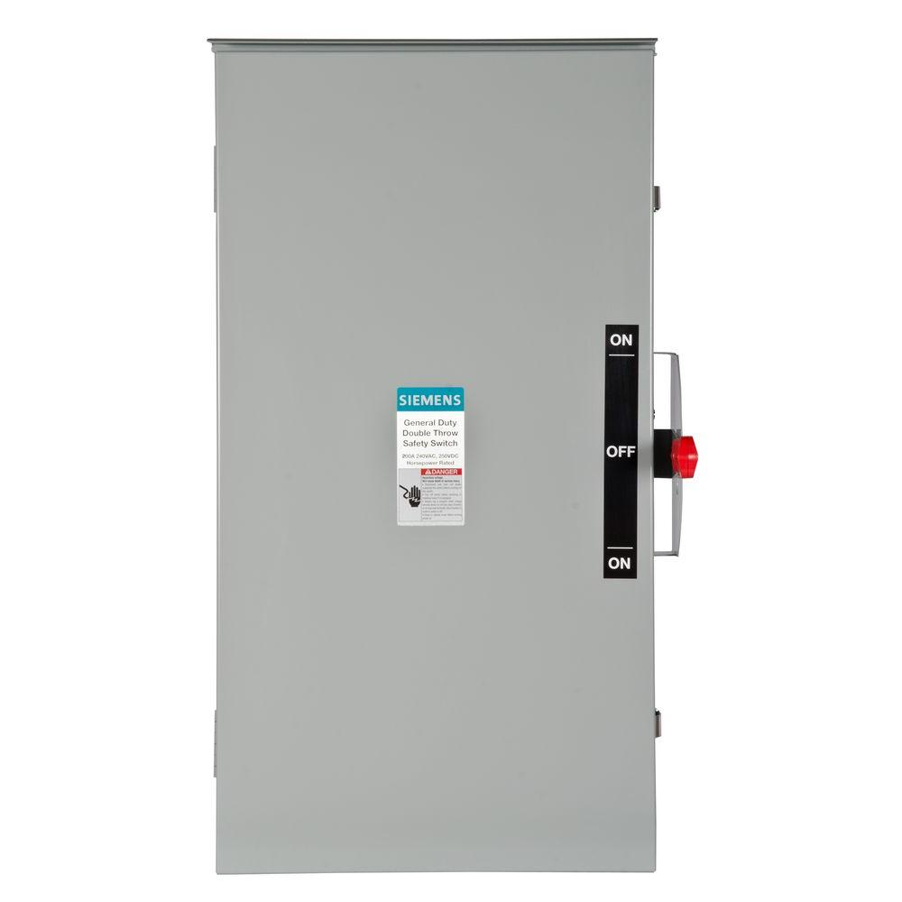 Siemens General Duty Double Throw 200 Amp 240 Volt 2 Pole Outdoor Non Fusible Safety Switch Dtgnf224nr The Home Depot