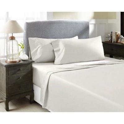 4-Piece Ivory Solid 1500 Thread Count Cotton King Sheet Set