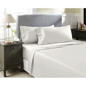 Perthshire 4 Piece Ivory Solid 1200 Thread Count Cotton Queen Sheet Set T1200q Pl Ivr The Home Depot