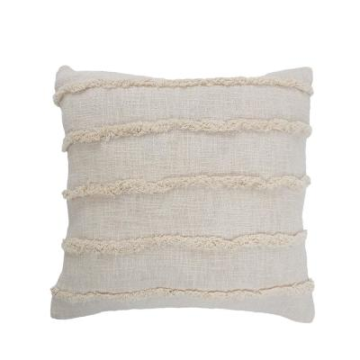 Striped Birch Beige Over Tufted Solid 20 in. x 20 in. Throw Pillow