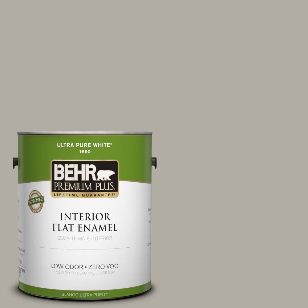 BEHR Premium Plus 1-gal. #790D-4 Granite Boulder Zero VOC Flat Enamel Interior Paint-DISCONTINUED