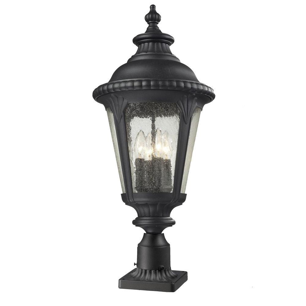 Lawrence 4-Light Outdoor Black Incandescent Pier Mount Light