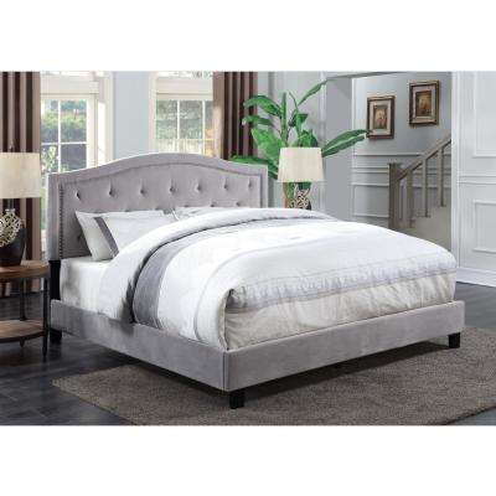 Trevor Smoke King Tufted Upholstered Bed