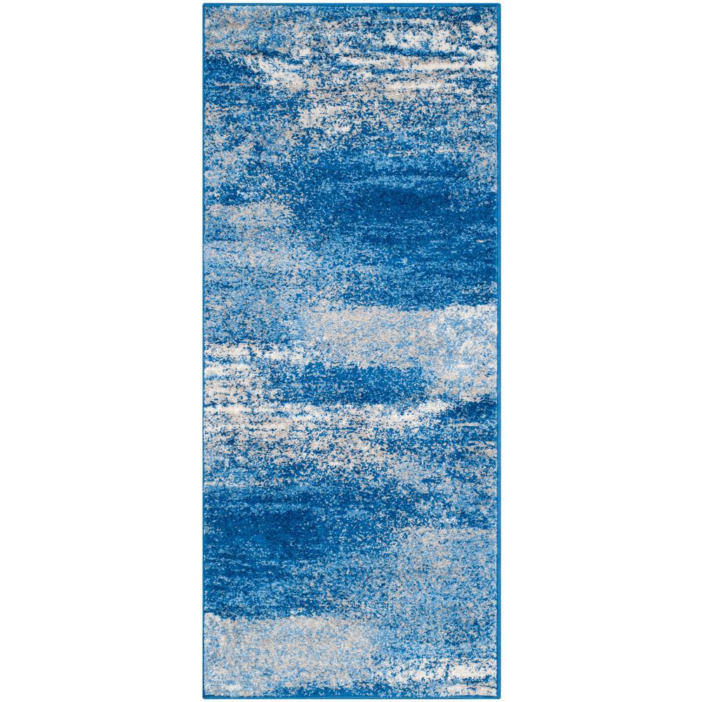 Adirondack Silver/Blue 3 ft. x 6 ft. Runner Rug