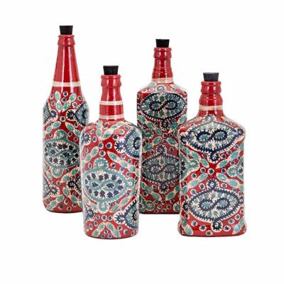 Alona Hand Painted Glass Bottles - Set of 4