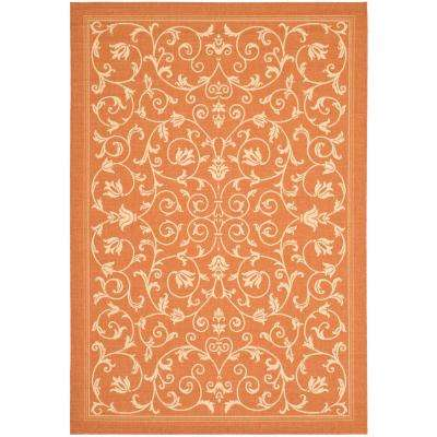 Courtyard Terracotta/Natural 5 ft. 3 in. x 7 ft. 7 in. Indoor/Outdoor Area Rug