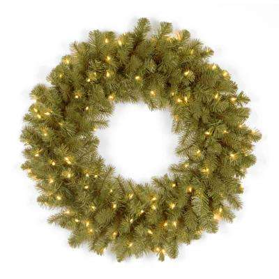 30 in. Feel-Real Downswept Douglas Fir Wreath with 100 Warm White LED Lights
