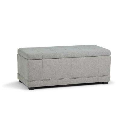 Westchester 45 in. Contemporary Storage Ottoman in Cloud Grey Linen Look Fabric