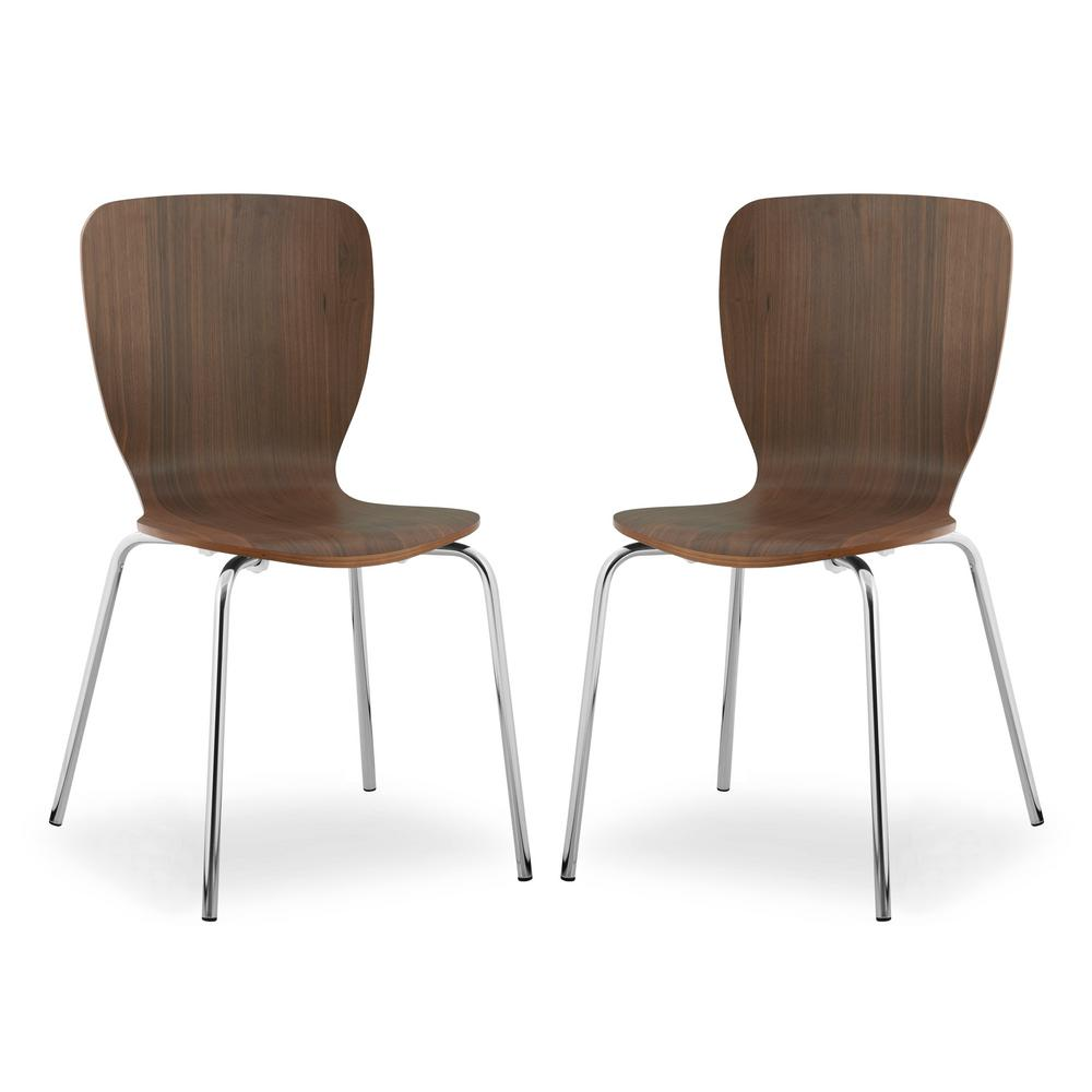 Poly and Bark Dio Walnut Dining Chair (Set of 2), Brown was $203.23 now $121.93 (40.0% off)