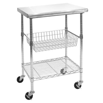 Stainless Steel Kitchen Cart with Basket