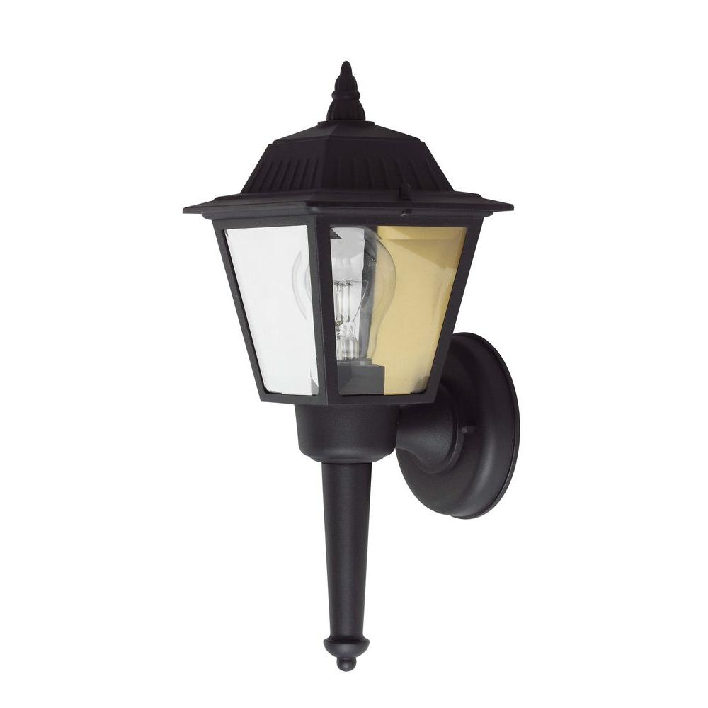 1-Light Outdoor Black Wall Light with Aluminum Material