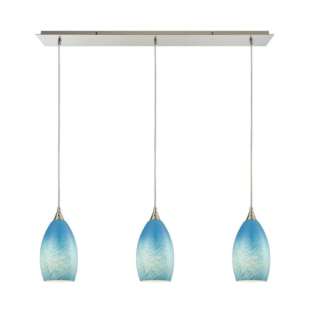 An Lighting Earth 3 Light Satin Nickel Pendant With Sky Blue Gl