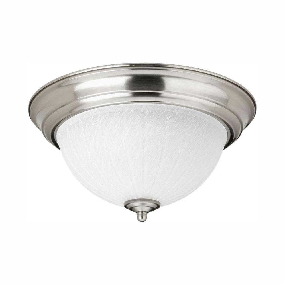 11.38 in. 1-Light Brushed Nickel Integrated LED Flush Mount
