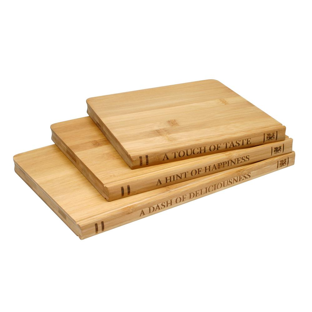 Sabatier Library Bamboo 3-Piece Cutting Board Set, Brown