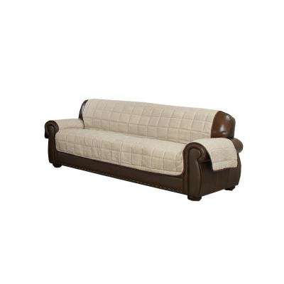 Mila Water Resistant Taupe-Chocolate Fit Polyester Fit Loveseat Slip Cover